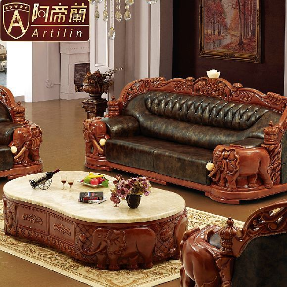 Artilin Luxury Lucky Elephant Leather Sofa Set Living Room Antique  Hand Carved Solid Wood Sectional