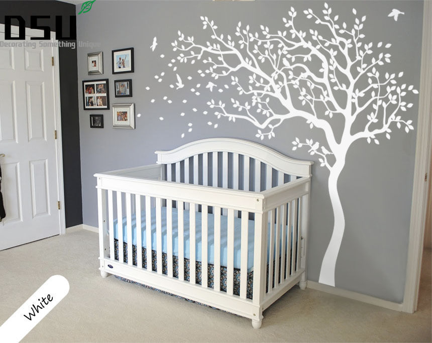 Big White Tree Nursery Wall Sticker Tree and Birds Art Baby Kids Room Wall Stickers Home Decor Mural 210*213cm D534 Wallpaper 2 sheet pcs 3d door stickers brick wallpaper wall sticker mural poster pvc waterproof decals living room bedroom home decor