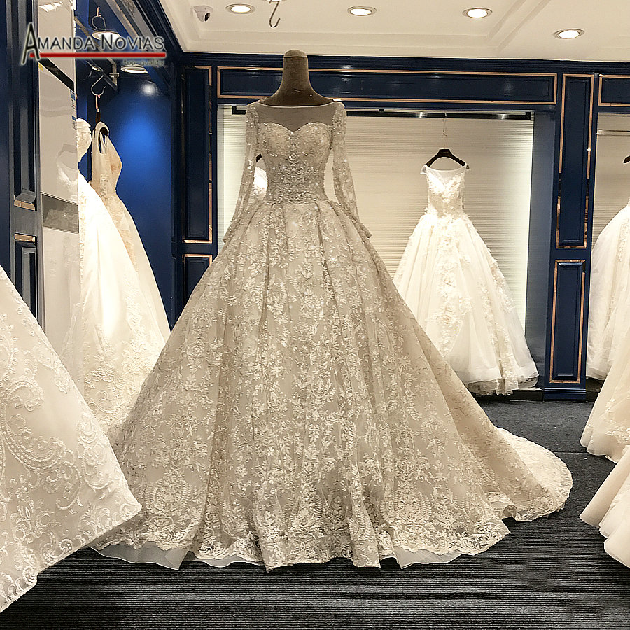 2018 Long Train Luxury Real Photos Wedding Dresses Amanda