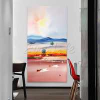 Hand Painted Canvas Oil Paintings Wall Art Pictures For Living Room Large Cheap Modern Abstract Yacht