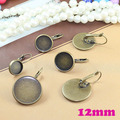 Leverback Earring Hooks Making Accessories Inner 12mm Cabochon Tray Bezels Blanks Base Setting Antique Bronze Plated 7 Colors