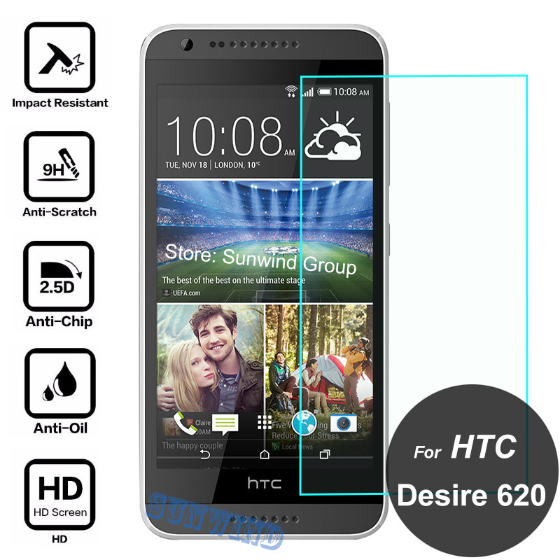 For HTC Desire 620 Screen Protector 2.5D 9H Safety Tempered Glass Protective Film On 620G D620H 820mini 820 mini D620u Dual Sim