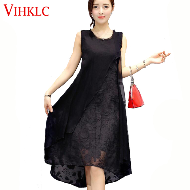 4ad5d553e746a Yaz moda kadın elbise 2017 yeni uzun kolsuz gevşek ipek elbise yuvarlak  yaka şifon saf renk