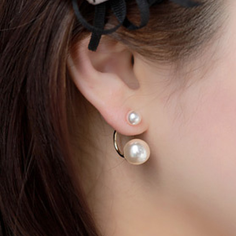 Fashion Ear Jewelry Double Side Star Models Imitation Simulated Pearl Ball Earrings Gold Silver-color Stud Earring for Women(China)