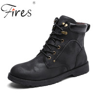 Fires Hiking Shoes For Men Keep Warm Inside Shoes High Top Walking Boots Male Plush Climbing