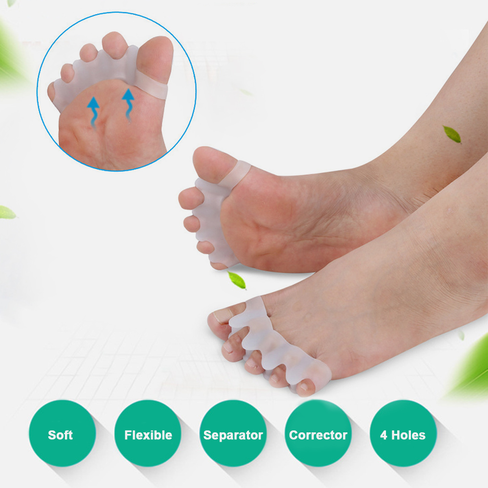 4 Holes Silicone Pedicure Foot Care Pedicure Tool for Legs Finger Toe Separator Divider Thumb Bunion Hallux Valgus Protector
