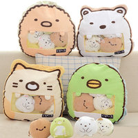 A Bag Of 4pc anime Cat Penguin cookies doll Toy cushion Japan Anime white bear stuffed plush Pillow toy for children
