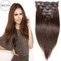 7A # 4 Dark Brown clipe em linha reta cabelo virgem brasileiro clipe em extensões do cabelo cabeça cheia 8 pçs/set grampo em extensões de cabelo humano
