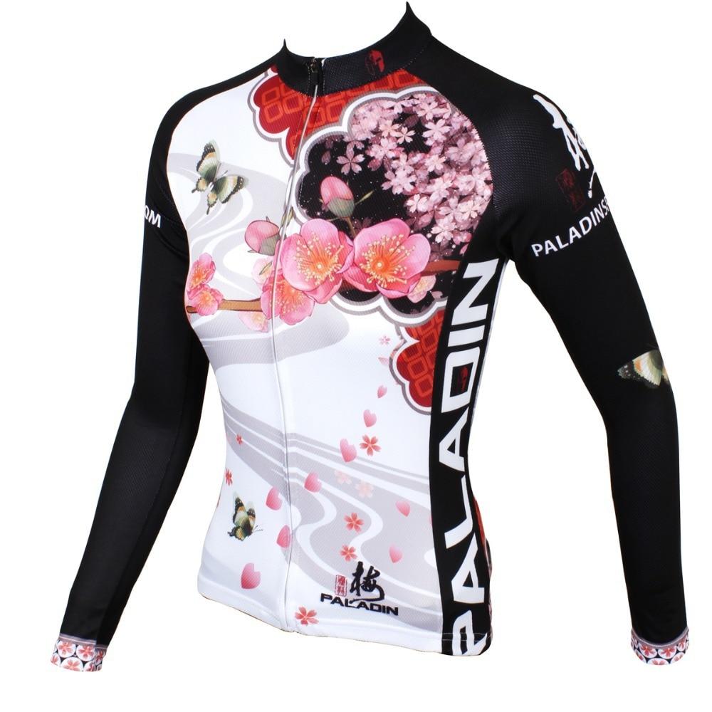 """팔라딘 """"복숭아 꽃""""여자 긴 소매 자전거 저지 자전거 셔츠 자전거 의류"""