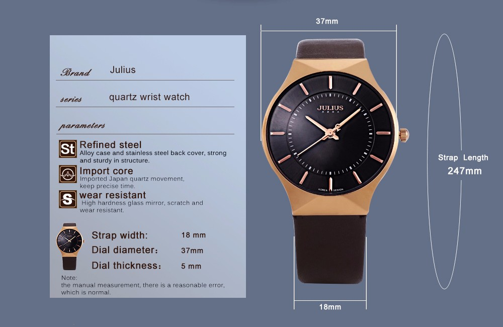 Julius Men Watch Stainless Steel Band Analog Display Quartz Wristwatch (3)