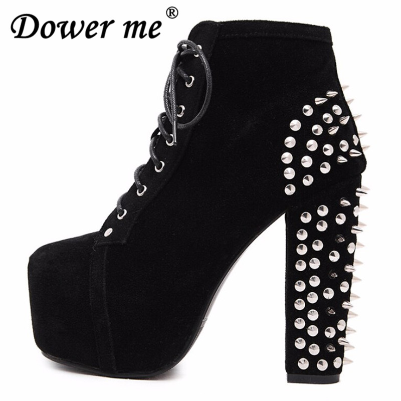 2018 Plus Size High Heels Shoes Women Punk Boots Spikes Ankle Boots Rivet Bota Women Platform Booties Lace Up woman Shoes black trolley luggage 24 universal wheels travel luggage bag 20 doodle small 16 luggage high quality female cartoon travel luggage