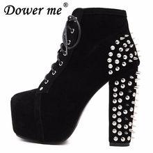 2018 zapatos de tacón alto de talla grande para mujer botas Punk botines  con remaches botas 0a77534da9100