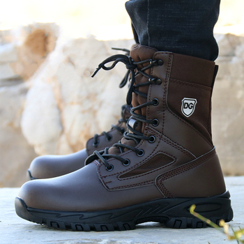 British fashion men's large size warm plush steel toe caps work safety cotton shoes anti-puncture winter snow fur security boots