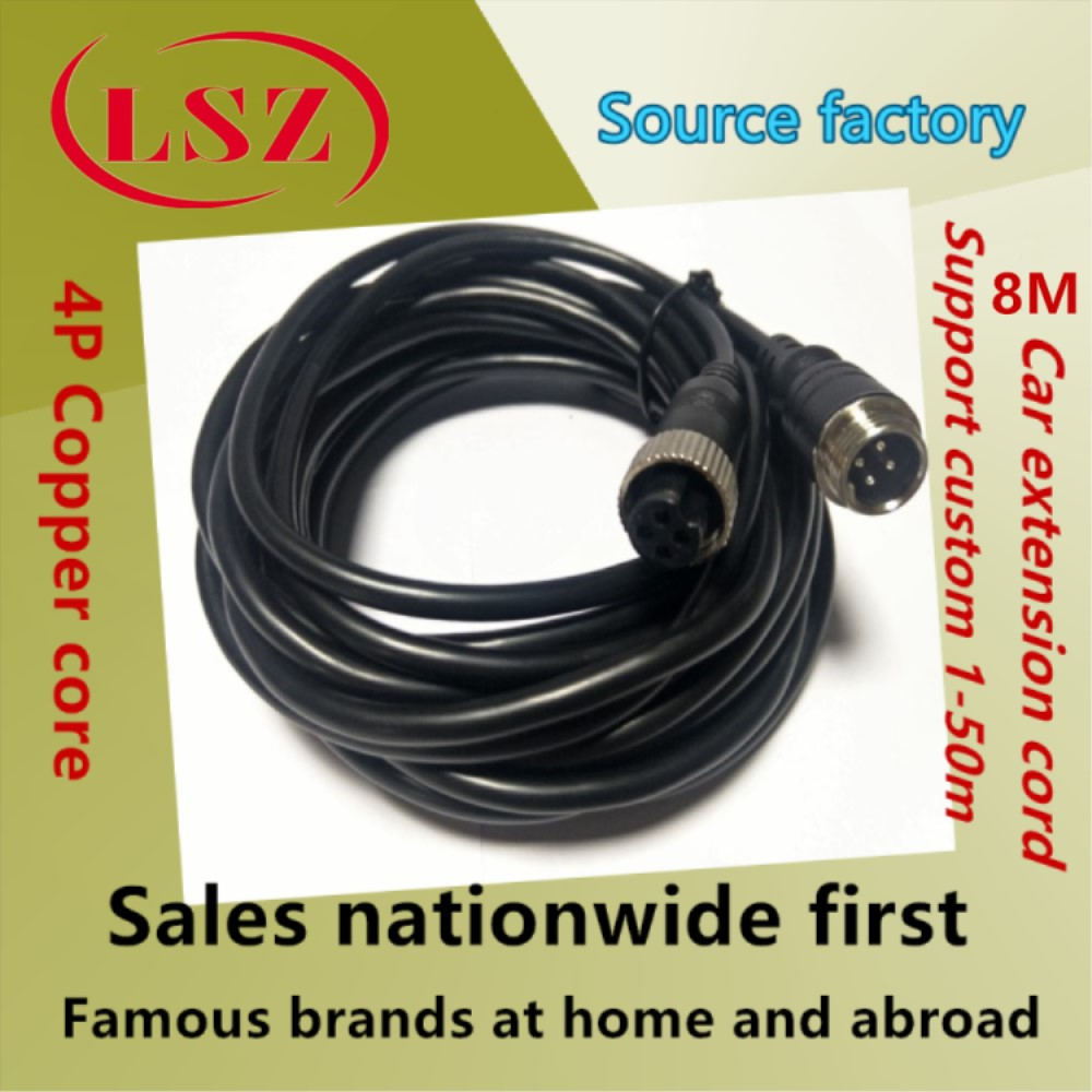 LSZ Source Manufacturer 4P 8M Hard Disk Car Video Recorder Aviation Head Line 4 Core Aviation Male To Female Extension Cable