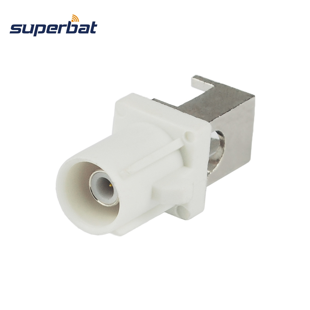 Superbat 5pcs Fakra Male White Plug End Launch PCB Mount Right Angle Radio Connector with Angled pin
