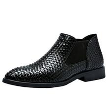 Мужские ботинки «Челси»; сезон весна-осень; ручная вязка; стильные водонепроницаемые классические модные кожаные ботинки; Мужская обувь; размеры 38-48; M420