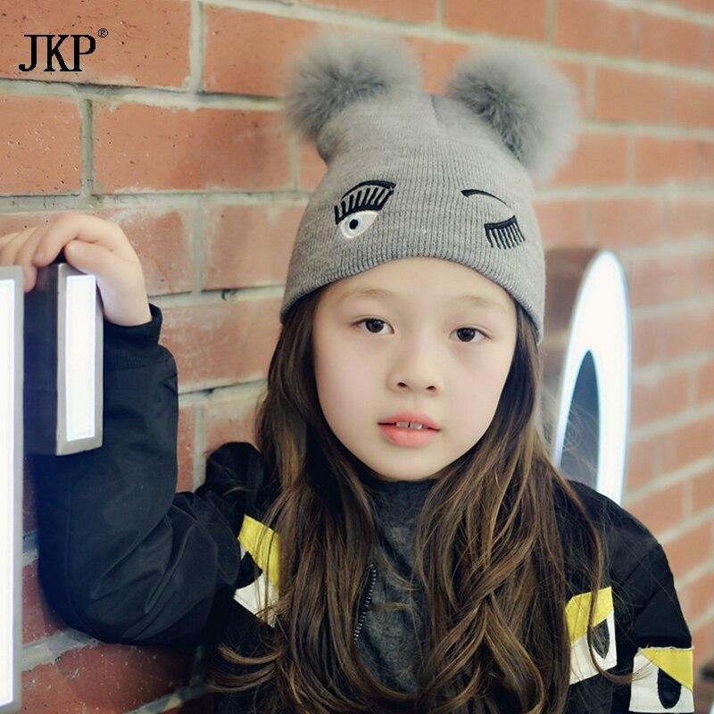 Children Genuine Fox Fur Winter Hats Pompom girl Hat Cotton Knit Hat Protect Your Ears Warm Thimble Kids Hats