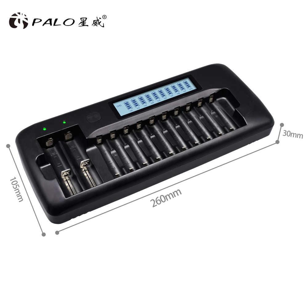 12 فتحات بالو ذكي LCD شاحن بطارية ل 18650 26650 21700 18350 AA AAA 3.7 V//1.2 V ليثيوم البلى نيمه البطارية و التفريغ