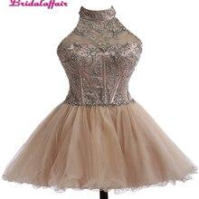 KapokBanyan Real Photo Short Prom Dresses 2017 Luxury Halter Neck Beads Party Dress Sleeveless Zipper Back Robe de soiree