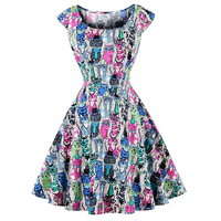 Retro Hepburn Style Women Vintage Slim Waist Flare Dress Colorful Cat Print Sleeveless O Neck Dress