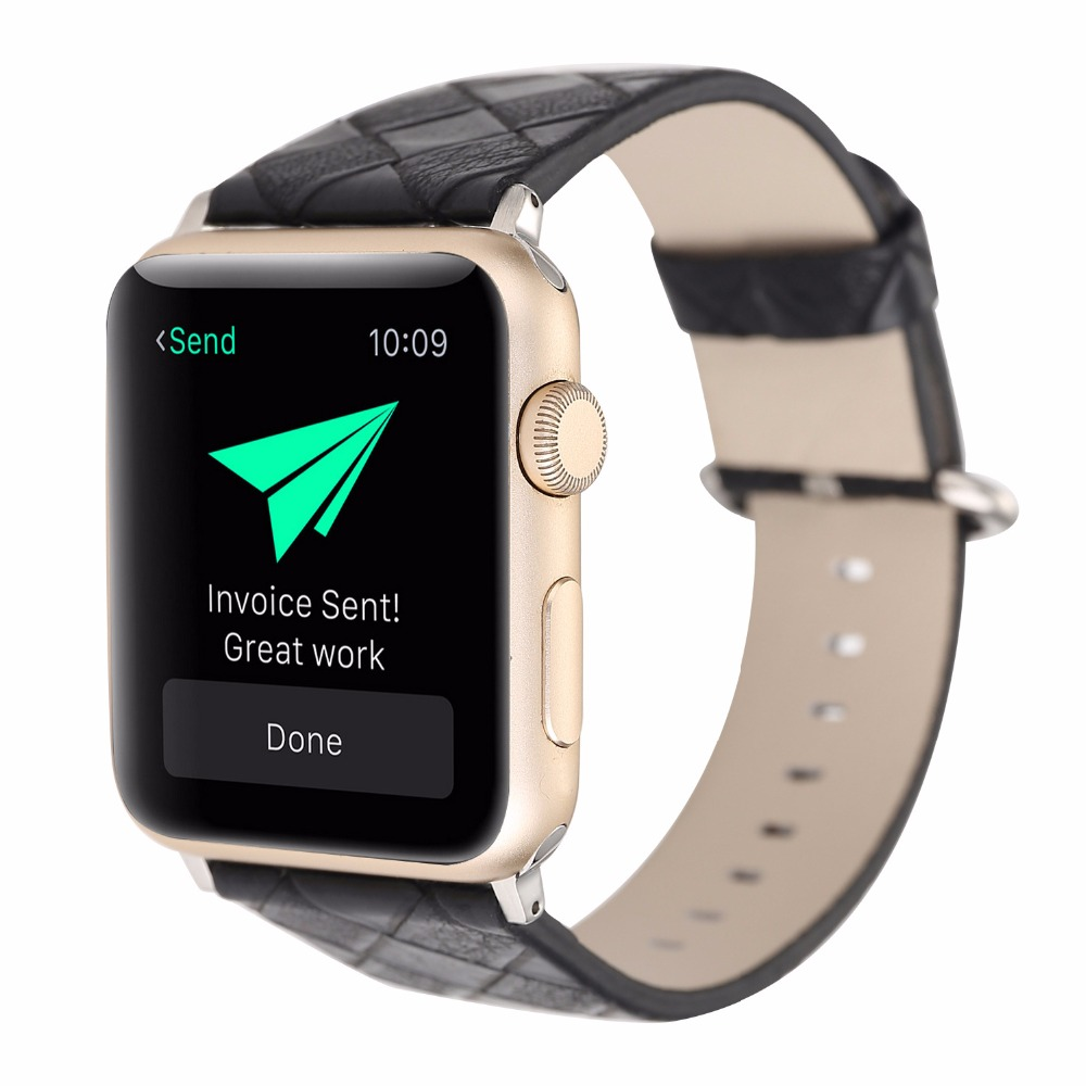 38/42mm Apple Watch Band Genuine Leather iwatch Strap Replacement Band with Stainless Metal Clasp for iWatch Lattice Pattern