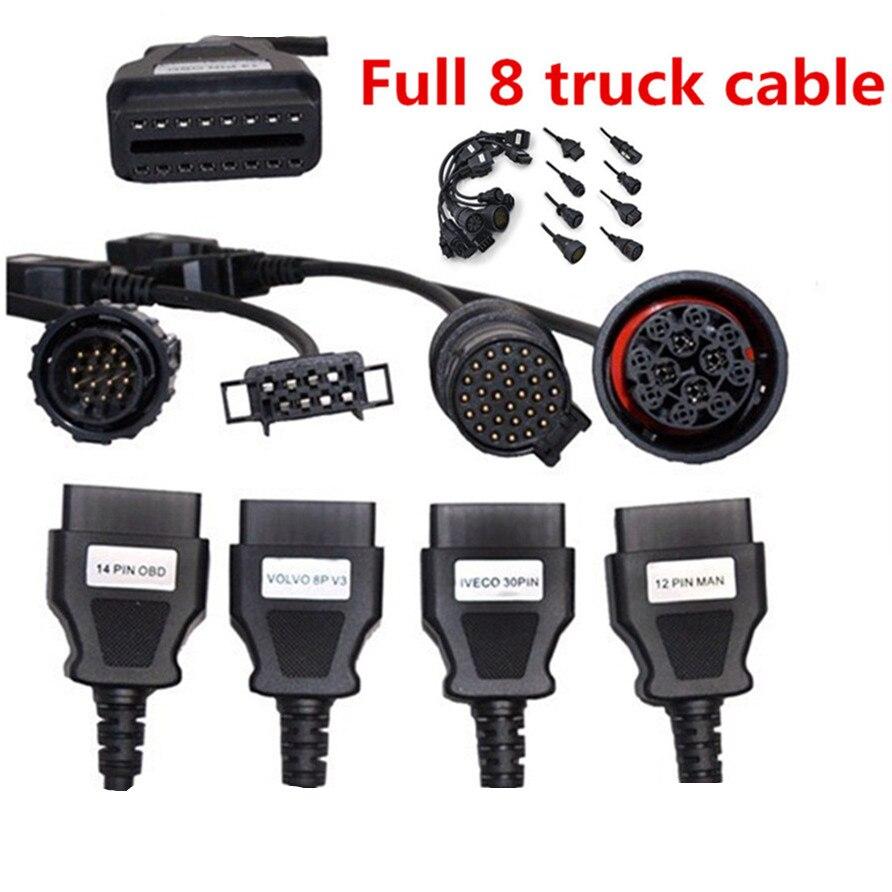 Truck cables cdp pro obd2 obdii trucks diagnostic tool connect cable 8 pcs trucks cables for