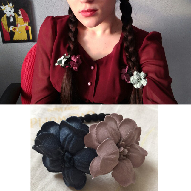 Elastic Hair Ring Flower Hair Rubber bands Rope Cloth Headbands Ties Hair Accessories for Women & Girls 1