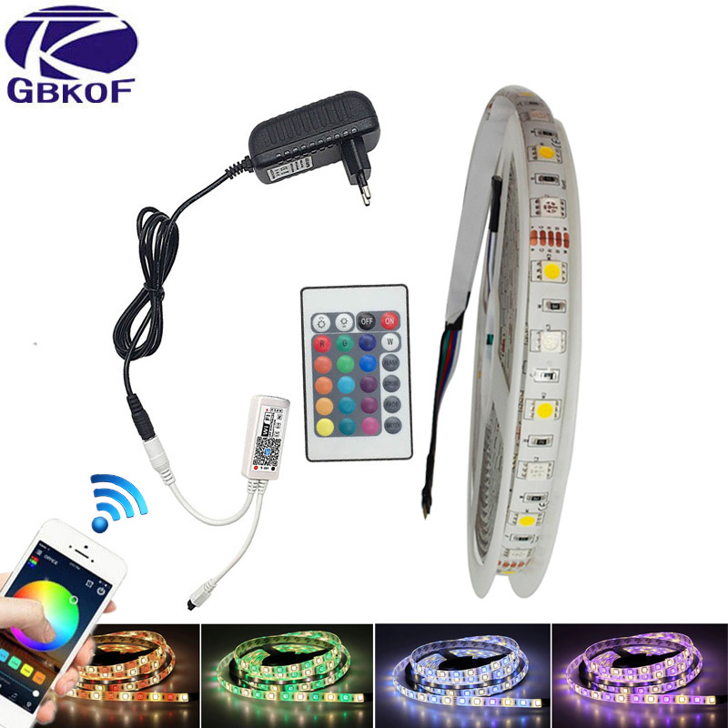 10M 5M wifi RGBW 5050 LED Strip Light RGB RGBWW flexible neon light ledstrip Waterproof DC12V LED tape diode stripe+control+Plug 10m 5m 3528 5050 rgb led strip light non waterproof led light 10m flexible rgb diode led tape set remote control power adapter