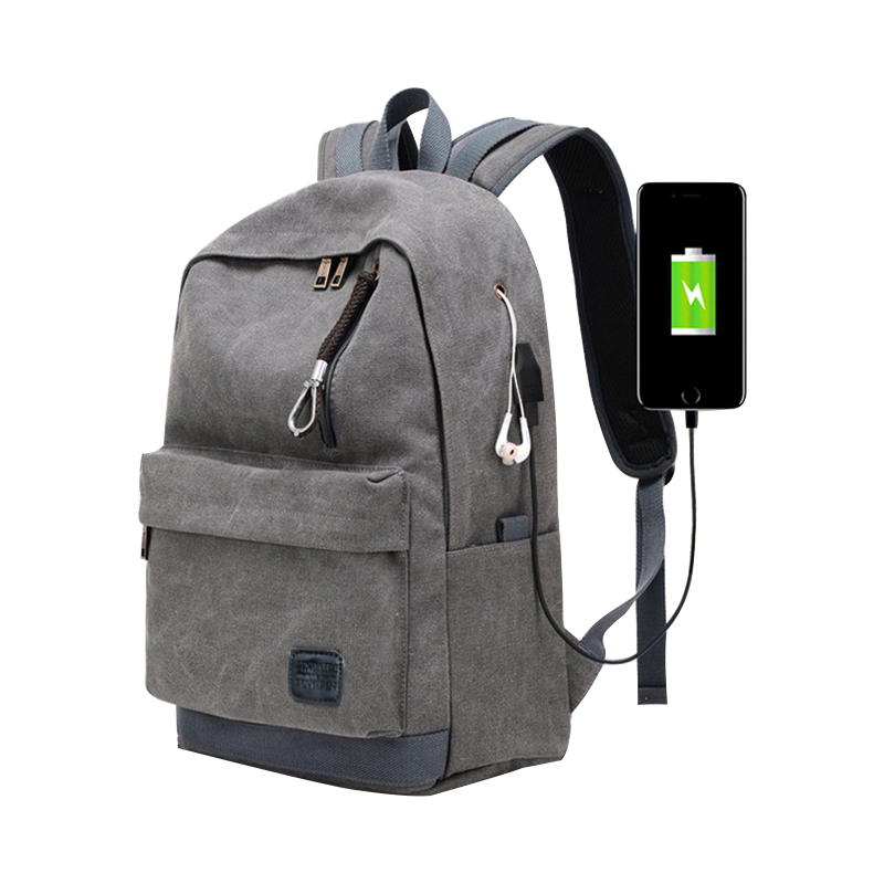 High Quality Canvas Backpack Large Capacity USB Charging Laptop Back Pack Anti Theft School Bag Women Men Bookbag For Teenager