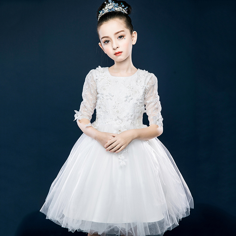 все цены на Children's Unique Lace Wedding Dress Sequin Applique Mesh Girl Baby Party Dress Children's Day Piano Performance Dress CA505