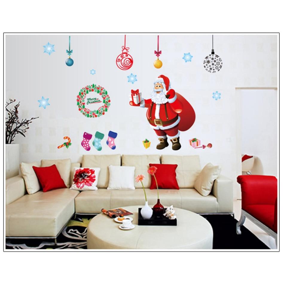 DIY Home Decor White Snowflake Reindeer Christmas Wall Stickers