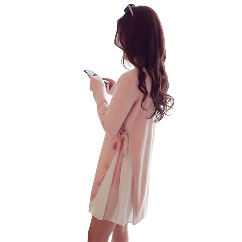 New Spring Autumn Patchwork Chiffon Sweater Dresses Women Sweet Bow Plus Size Knitted Mini Dress Slim