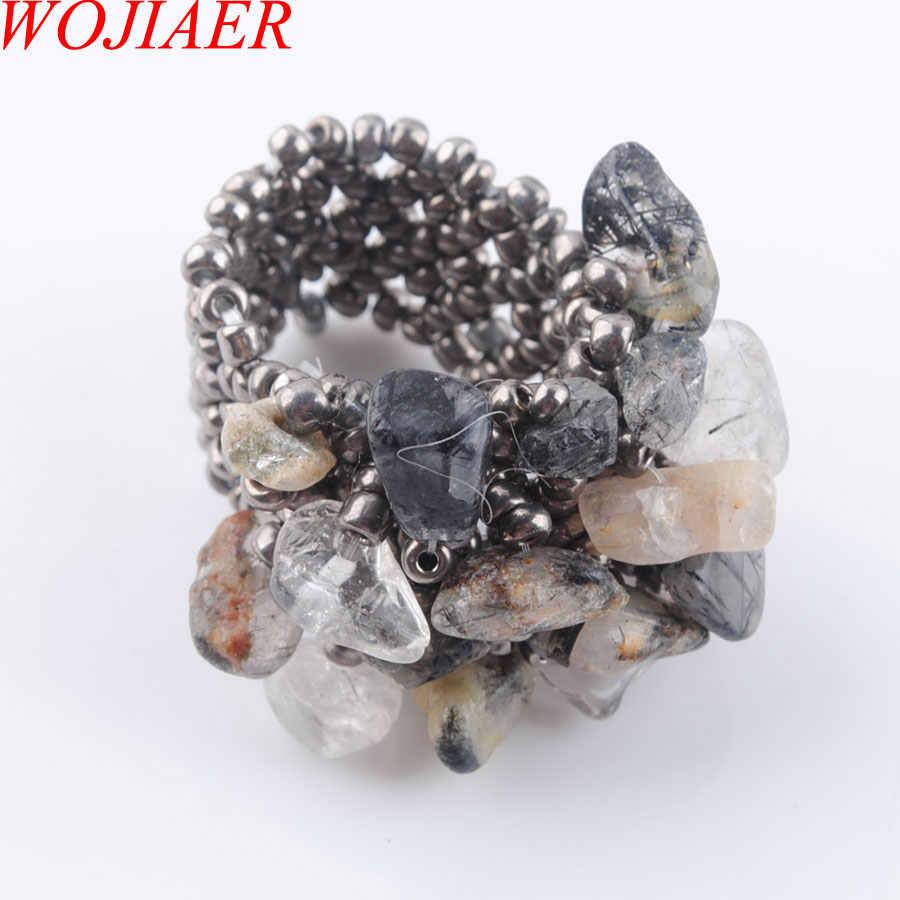 WOJIAER ธรรมชาติไม่สม่ำเสมอแหวนหินอัญมณีสำหรับ Lady Black Rutilated Quartzs ยืดออสเตรียแหวนเครื่องประดับ PJ3018