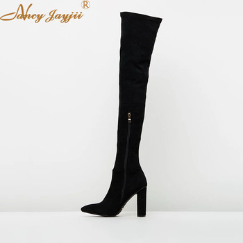 Flock Woman Shoes Adult ladies Black Boots Over-the-knee Super High Square heel Winter Zipper Mature Leisure Casual Fashion 2019
