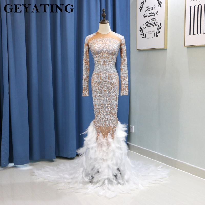 Heavy Stone Crystal Long Sleeves Mermaid   Prom     Dresses   for Black Girls African Evening   Dress   2019 Long Stretch Formal Party Gowns