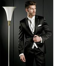 New Custom Made Fashion Men's 3 Pieces Black Groom Tuxedos Wedding Suits Evening Suits Formal high quality