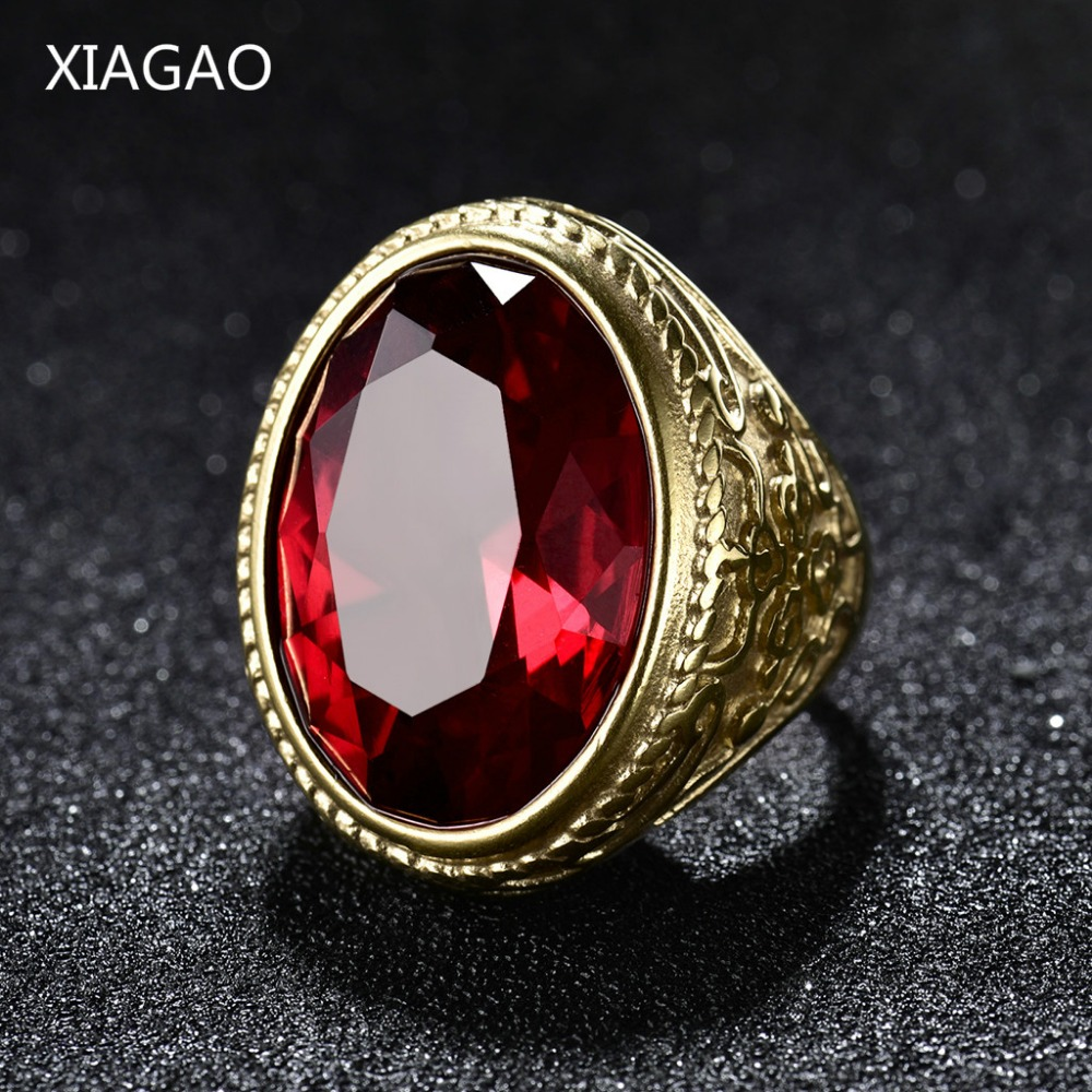 XIAGAO Cool Punk Real 316L rostfritt stål Red Ring Mäns stora röda Crystal Red Stones Fingerringar för man Gothic Casting Ring