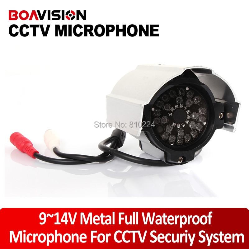 ФОТО Audio pick up 50~150m2 Adjustable Metal Full Waterproof Seurity Microphone For CCTV Camera DVR AW-audio