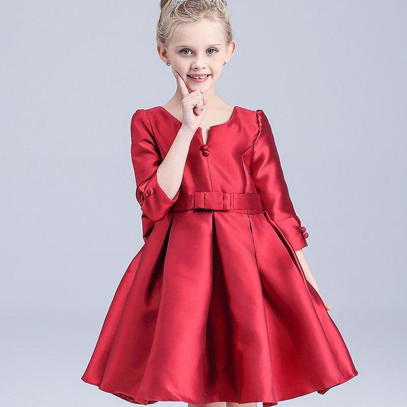 2016 Fashion Summer Satin Bow Vintage princess dress Baby Girls Red Party Formal Dresses Kids Children