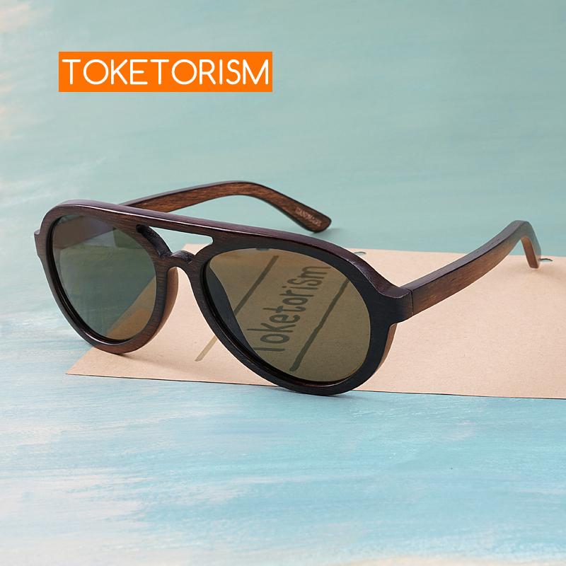 Toketorism wooden sunglasses men polarized uv400 high quality wood glasses 8303-in Men's Sunglasses from Apparel Accessories