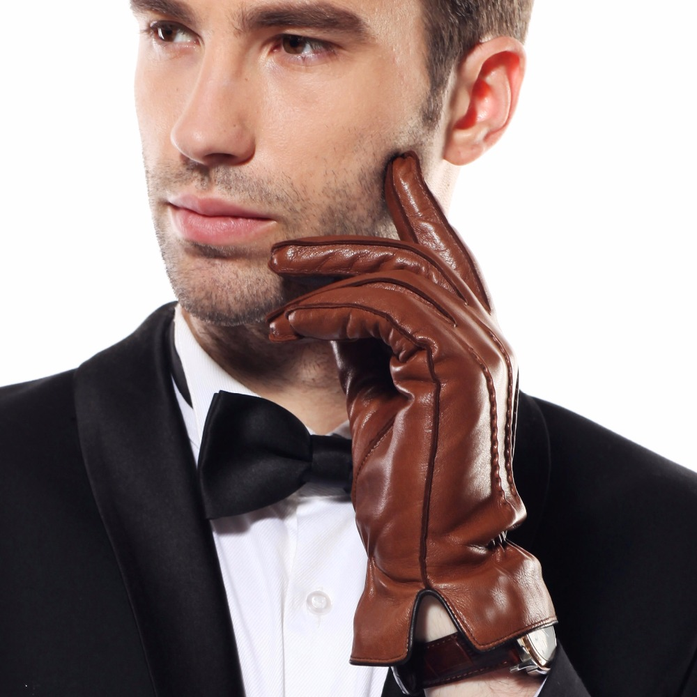 2020 New Men's Genuine Leather Gloves Male Spring Autumn Thin Plush Lined Men Driving Lambskin Leather Gloves EM009WQF-1