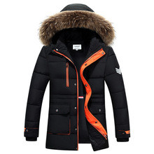 2017 New Men's Thick Solid Casual Winter Parkas Wide-Waisted With Fur Stand Collar Adjustable Waist Keep warm Men's Parkas