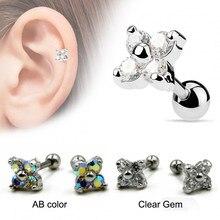 04fe703a1 PAIR Surgical Steel Prong Set Flower CZ Gem Square Tragus Cartilage Helix Earring  Stud Piercing Ear