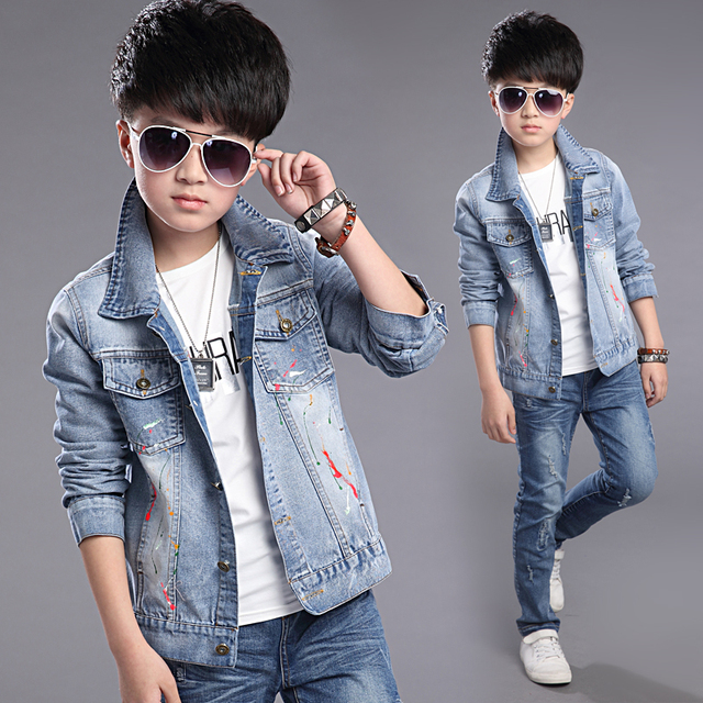 9adecab4a1a2 European Style 2018 Spring Autumn Children s Wear Boys Casual Denim Jacket  Kids Fashion Graffiti Holes Deinm Coat Outerwear G728