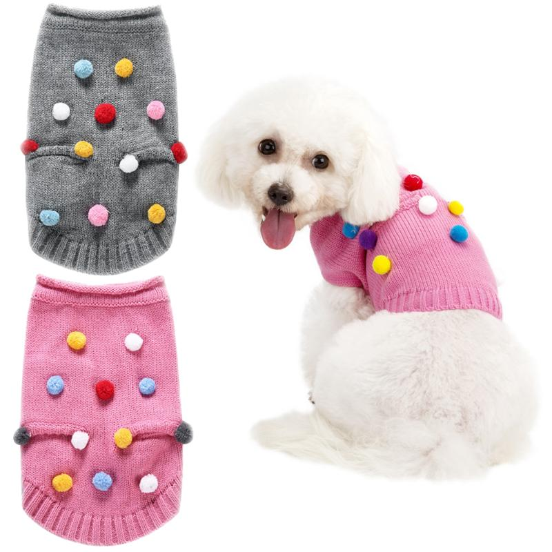 Colorful Balls Pet Puppy Dog Knitted Sweater Lovely Pet Coat Clothes for Dog Cat Pocket Sleeveless Knitwear S-XL