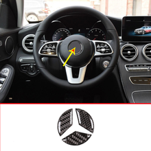 Real Carbon Fiber Car Steering Wheel Stickers For Mercedes Benz C Class W205 GLC-Class X253 2015-2019 Auto Accessories car qi wireless charger for mercedes benz w205 amg c43 c63 amg glc 43 glc63 x253 c class glc accessories phone fast charging