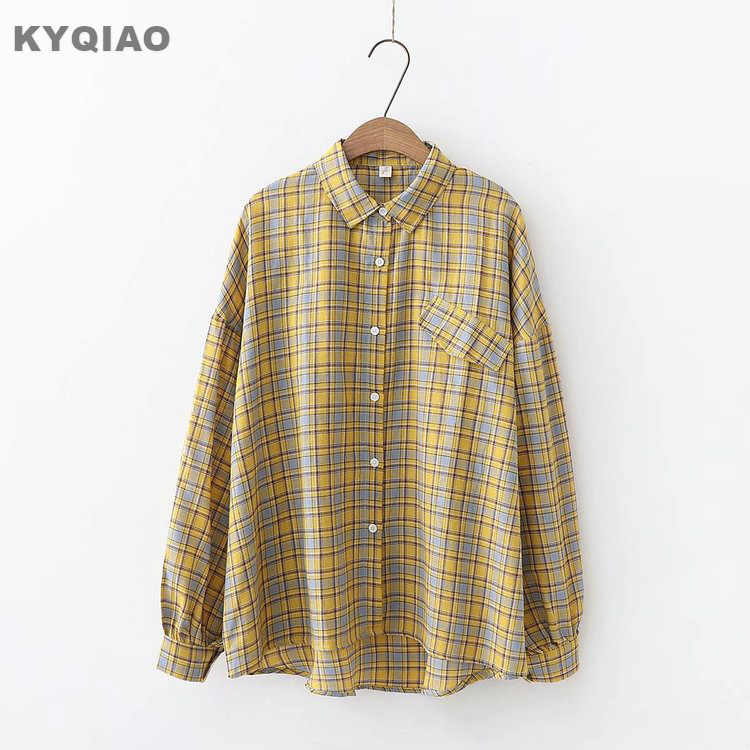 Kyqiao Women Plaid Shirt 2019 Female Autumn Spring Japanese Style Turndown Collar Long Sleeve Lace Plaid Blouse Tops Blusa Women's Clothing