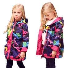 2017 Filles Vêtements Fille Vestes Enfants Manteau Enfants Tops Outwear Teengers Camo Coupe-Vent À Capuche Mince Imperméable Tranchée Manteau
