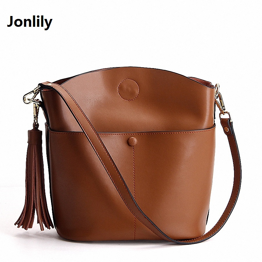 Jonlily New arrival leather handbags Vintage shoulder bag genuine leather cross body bags Tassel women messenger bags-SLI-270 ecosusi new fashion women messenger bags casual women leather handbags vintage women shoulder cross body bags bolsos bag