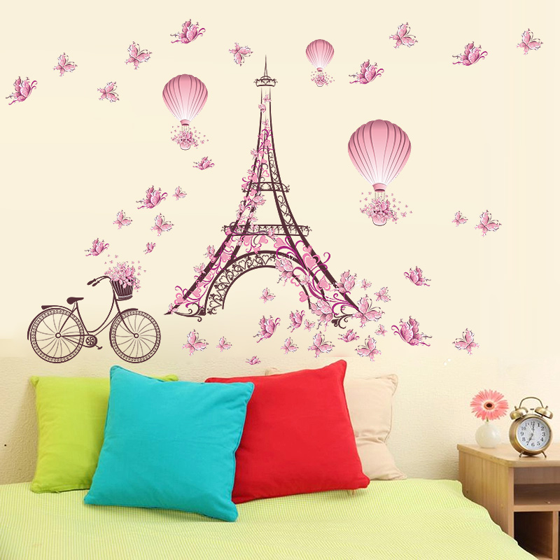 Girls Wallpaper Decals With Eiffel Tower Romantic Butterfly Flower Tower Bicycle Hot Air Balloon
